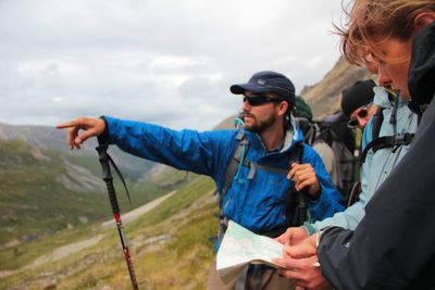 Student lead navigation on a course in the Yukon.