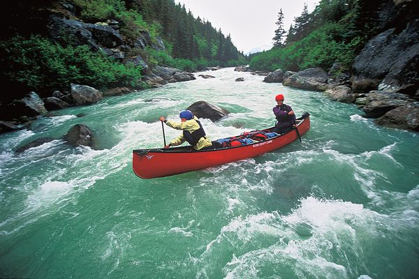 Two course participants whitewater canoe on a river bounded with pines on both sides.