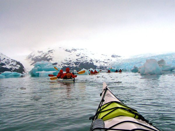 Naval Academy students sea kayak near Alaska's Princeton Glacier during a NOLS Custom Education course.